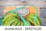 close up of bathroom weight... | Shutterstock . vector #385074130