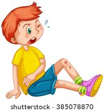 boy with wounds on his leg... | Shutterstock .eps vector #385078870