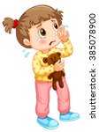 little girl crying with tears...   Shutterstock .eps vector #385078900