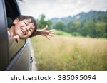 happy kids travel by the car | Shutterstock . vector #385095094