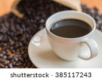 Black Coffee Cup On Wood...