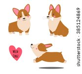 cute welsh corgi set in... | Shutterstock .eps vector #385124869