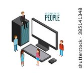 isometric businesspeople design  | Shutterstock .eps vector #385141348