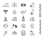 camping icons line   Shutterstock .eps vector #385156534