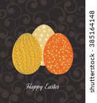 vintage easter egg design set.... | Shutterstock .eps vector #385164148