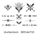 hand drawn tribal collection... | Shutterstock . vector #385166710