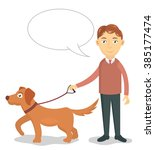a man walks with his dog vector ... | Shutterstock .eps vector #385177474