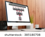 modern wooden workspace with...   Shutterstock . vector #385180708