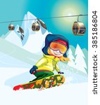 snowboarder on the mountain | Shutterstock .eps vector #385186804
