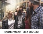 four hipsters meeting in the... | Shutterstock . vector #385189030