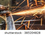 grinding machine on work and... | Shutterstock . vector #385204828