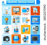 graphic design square icons set ... | Shutterstock .eps vector #385207090