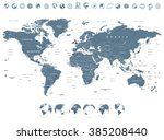 grayscale world map and globe... | Shutterstock .eps vector #385208440