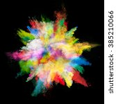 explosion of colored powder on... | Shutterstock . vector #385210066