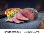 dry aged roast beef with... | Shutterstock . vector #385210696