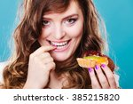 bakery  sweet food and people... | Shutterstock . vector #385215820