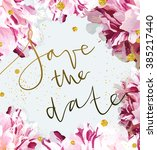trendy invitation template with ... | Shutterstock . vector #385217440