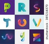 logo idea of letters p r s t u... | Shutterstock .eps vector #385218370