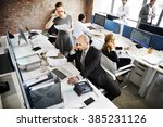 business team busy working... | Shutterstock . vector #385231126