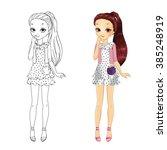 coloring book vector... | Shutterstock .eps vector #385248919