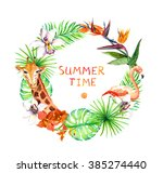tropical leaves  exotic... | Shutterstock . vector #385274440