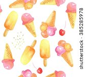 ice cream seamless pattern.... | Shutterstock . vector #385285978