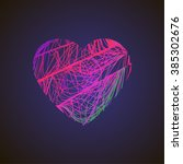 bright heart with colored lines ... | Shutterstock .eps vector #385302676