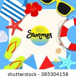 vector summer background with... | Shutterstock .eps vector #385304158