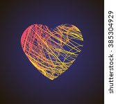 bright heart with colored lines ... | Shutterstock .eps vector #385304929