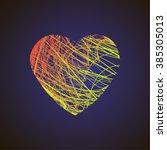 bright heart with colored lines ... | Shutterstock .eps vector #385305013