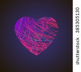 bright heart with colored lines ... | Shutterstock .eps vector #385305130