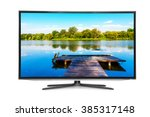 flat television on the white... | Shutterstock . vector #385317148