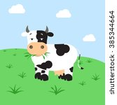 cow grazing in the field. cow... | Shutterstock .eps vector #385344664