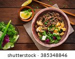 miso and soba noodle soup with... | Shutterstock . vector #385348846