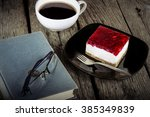 vintage book reading cup of... | Shutterstock . vector #385349839
