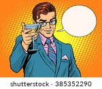 cheers man drinks alcohol... | Shutterstock .eps vector #385352290