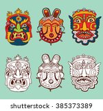 set of masks. retro hand drawn. | Shutterstock .eps vector #385373389
