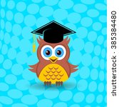 cute owl with graduation hat on ... | Shutterstock .eps vector #385384480