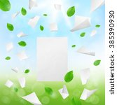white blank papers flying away... | Shutterstock .eps vector #385390930