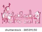 Girl With A Tea (hand drawn vector sketch) - stock vector