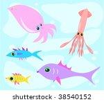 mix of marine life vector   Shutterstock .eps vector #38540152