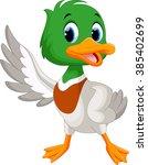 cartoon duck presenting with...   Shutterstock . vector #385402699