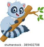 cute raccoon in a tree | Shutterstock .eps vector #385402708