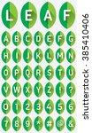 green leaf uppercase flat font...   Shutterstock .eps vector #385410406