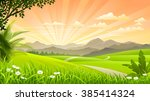 beautiful grasslands with... | Shutterstock .eps vector #385414324