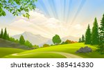 evergreen forest and green... | Shutterstock .eps vector #385414330