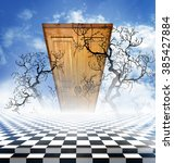 Small photo of Illusory landscape with a checkerboard floor, bare branches of a tree and wooden closed door