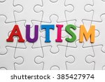 autism inscription on a white... | Shutterstock . vector #385427974