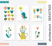 set of cute creative card... | Shutterstock .eps vector #385437820