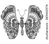 zentangle stylized butterfly.... | Shutterstock .eps vector #385443574